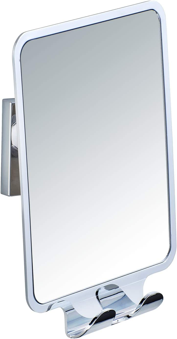 Wenko Quadro Wall Mirror with Vacuum-Loc, Silver