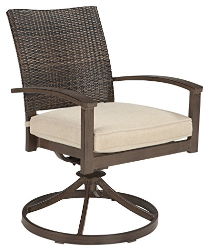 Ashley Furniture Signature Design - Moresdale Outdoor Swivel Dining Chair with Cushion - Set of 2 - Woven Wicker - Brown (Dining Cushion Chair Swivel)