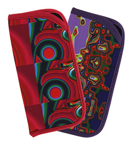 2 Pack Soft Slip In Eyeglass Case For Women & Men, Colorful Psychedelic - Shades Trippy
