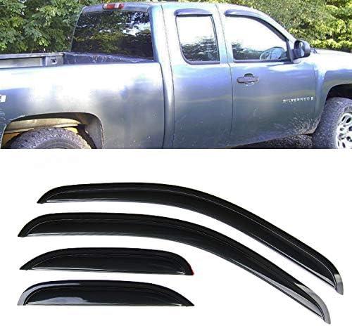 Set of 4Pcs Smoke Window Sun Rain Visor Vent Guard Deflector Shade Fit for 2007-2013 Chevy Silverado Extended Cab