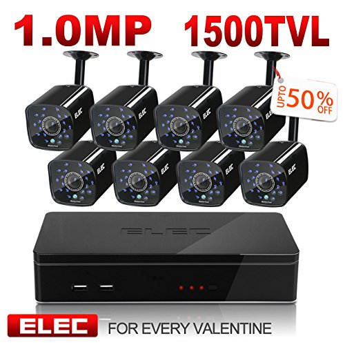 ELEC 8CH HDMI 960H DVR 1500TVL Outdoor Indoor Day Night IR-CUT CCTV Surveillance Home Video Security Camera System , Motion Detection Push Alerts QR Code Quick Scan Remote Viewing- NO Hard Drive
