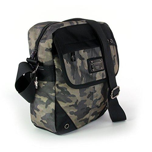 Umhängetasche schwarz army Polyester Crossover Schultertasche Bag Street OTJ256F
