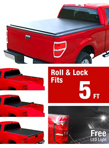 (MaxMate Low Profile Roll up Truck Bed Tonneau Cover Works with 2005-2018 Nissan Frontier | Fleetside 5' Bed | for Models with or Without The Utili-Track System)