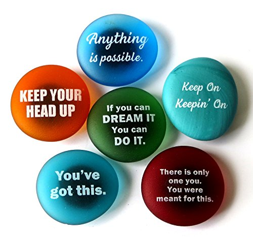 Lifeforce Glass Inspiration Magnets: Encouragement and Motivation on Frosted Sea Glass Stones, Attached to Super-Strong Magnets Set II