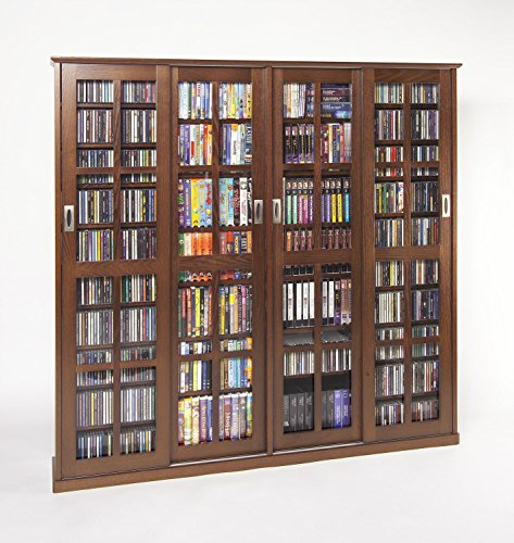 Sliding Door Inlaid Glass Mission Style Multimedia Cabinet (MS-1400 Series) Walnut