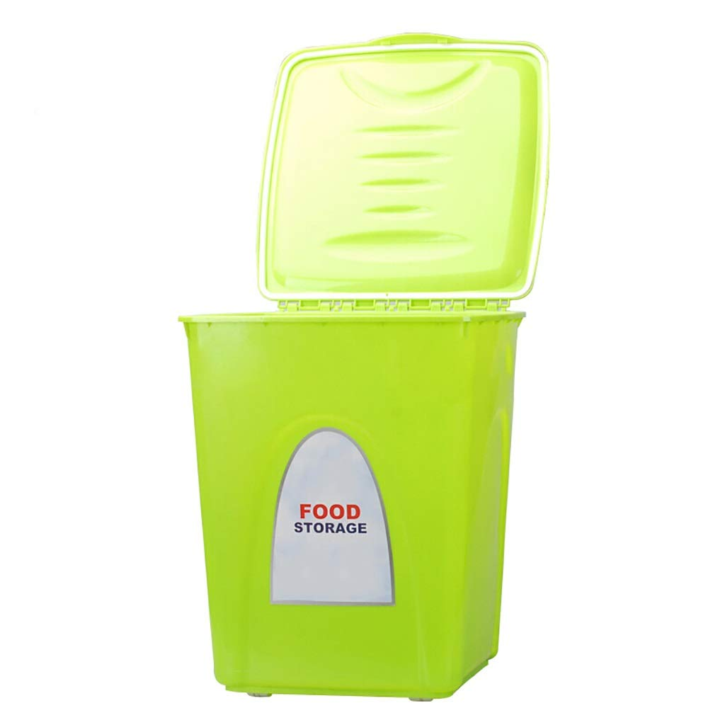 S (28x28x32cm) Dog & Cat Food Container Fresh Dry Pet Food PP Resin Storage Container with 4 Wheels Rolling Design 1 Food Shovel for Kibble Bird Seed Rice and Bulk Food Green (Size   S (28x28x32cm))
