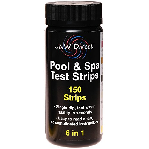 JNW Direct 6 in 1 Pool & Spa Test Strips, Best Kit for Accurate Water Quality Testing for Home Swimming Pools, Hot Tubs and Salt Water, 150 Strip MEGA PACK