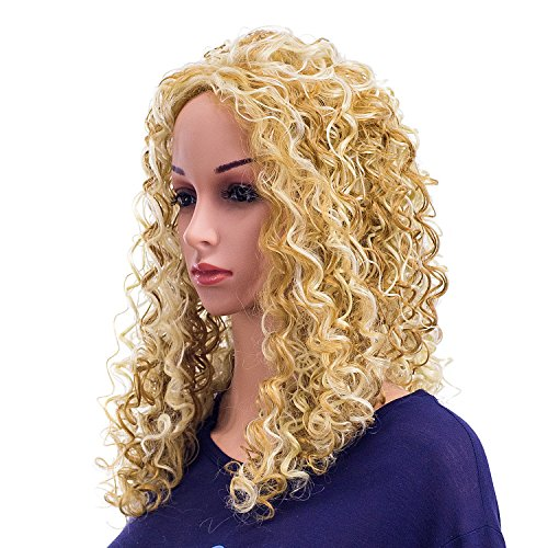 SWACC 20-Inch Long Big Bouffant Curly Wigs for Women Synthetic Heat Resistant Fiber Hair Pieces with Wig Cap (Strawberry Blonde/Bleach Blonde Highlights-27H613) -