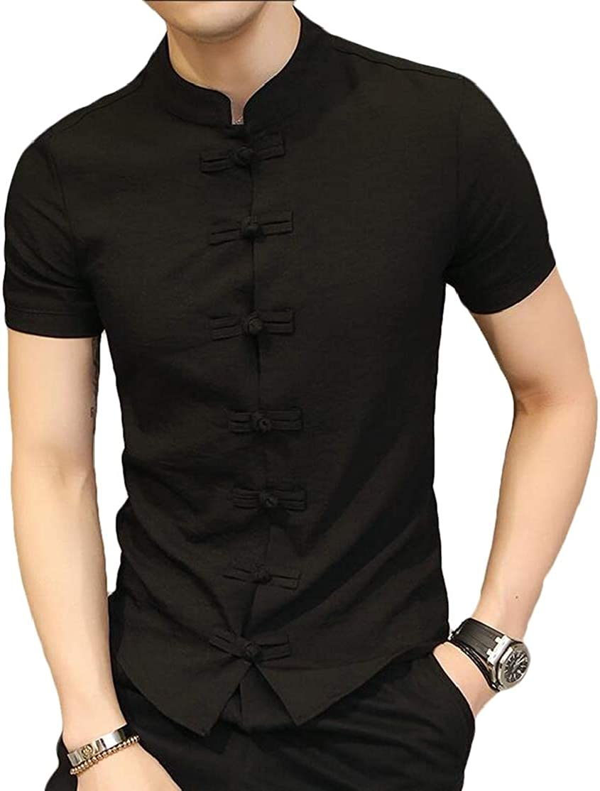 BU2H Men Frog Button Slim Chinese Style Solid Casual Short Sleeve Shirts