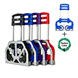 FCH Portable Folding Hand Truck Light Weight Folding Hand Trolley Cart Supports up to 165Lbs Capacity(Blue)