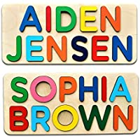 Personalized Two Name Puzzle With Engrave Message Gift for Baby Boy and Baby Girl Handmade
