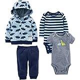 Simple Joys by Carter's Baby Boys' 4-Piece Fleece Jacket Set, Blue Dino, 18 Months