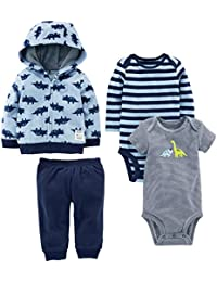 Boys' 4-Piece Fleece Jacket, Pant, and Bodysuit Set