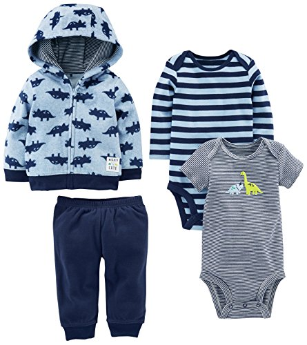 Simple Joys by Carter's Baby Boys' 4-Piece Fleece Jacket Set, Blue Dino, 18 Months