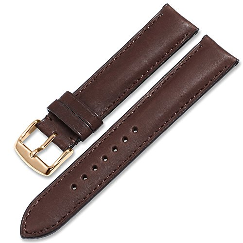 (iStrap Quick Release Leather Watch Band Wrist Calf Strap Men Women 20mm Soft Pin Buckle Coffee)