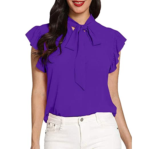 6f68eef5e3b Willsa T Shirt for Women, Casual Cap Sleeve Bow Tie T-Shirt Solid Chiffon