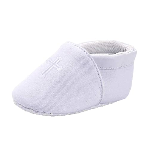 OOSAKU Baby Shoes Newborn Infant Boys White Christening Baptism Slippers