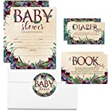 Deluxe Boho Succulents, Pine, & Feathers Baby Shower Party Bundle, Includes 20 each of 5