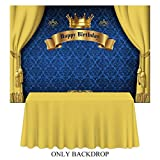 Allenjoy 7x5ft Royal Prince Backdrop King Gold Curtain Background Baby Shower Happy Birthday Party Cake Dessert Table Decor Decoation Banner Photo Booth