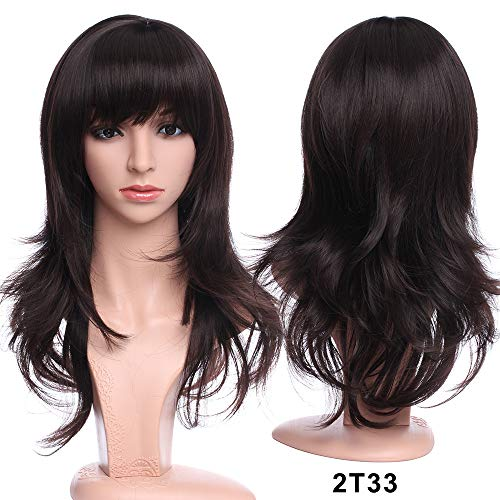 - Long Layered Wvay Dark Brown Wig With Bangs Heat Resistant Sysnthetic Hair Full Wig For Women Lady Natural Cosplay Party