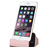 AENMIL Desktop Charging Dock holder Station, Metal Surface Charge Cradle Base, for Apple iPhone 6 6S Plus 5 5S 5C / iPad Mini Air - Rose Gold