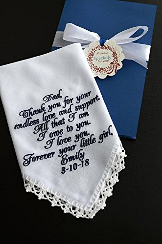 Personalized Hankies - Wedding gift for Dad from daughter, Father of the Bride, Wedding keepsake Personalized hankies Embroidered hankie Wedding favours