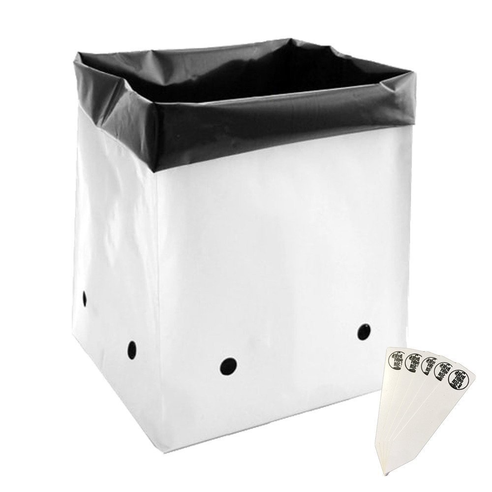 7 Gallon White Exterior Grow Bags, 10 Pack + Stakes