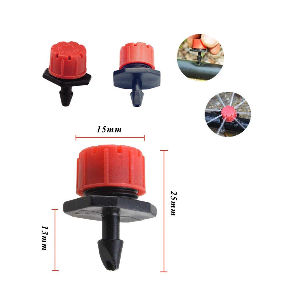 100 Stück Einstellbare Bewaesserung Sprinkler Emitter Tropf System Schwarz Rot