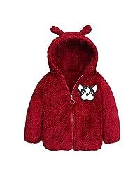Naladoo Toddler Baby Girl Boy Zipper Hooded Coat Cartoon Dog Warm Plush Tops