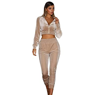 e639d55ee Amazon.com: Tracksuit Sets ,Womens 2pcs Hoodies Sweatshirt Pants Sets ❀  Velvet Zipper Tracksuit Jogging Gym Sport Suit,Sweatshirt and Skinny Long  Pants: ...