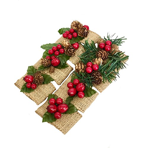 Pinecone Napkin Holder - Angel Isabella, LLC Christmas Napkin Ring-Burlap Christmas Napkin Holders with Pinecone and Berries (8)