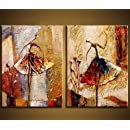Wieco Art - Ballet Dancers 2 Piece Modern Decorative artwork 100% Hand Painted Contemporary Abstract Oil paintings on Canvas Wall Art Ready to Hang for Home Decoration Wall Decor