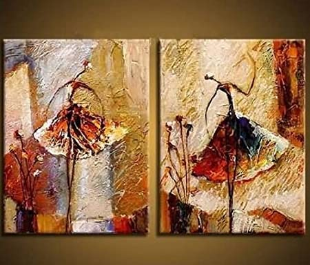 Wieco Art   Ballet Dancers 2 Piece Modern Decorative Artwork 100% Hand  Painted Contemporary Abstract