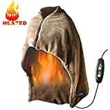 BIAL Heated Shawl, Extra Soft Super Warm Electric Throw Blanket with Pillowcase for Home Office Travel, Time Temperature Control Heated Flannel Blanket Comfort Shoulder and Neck 46x35 Inch(Coffee)