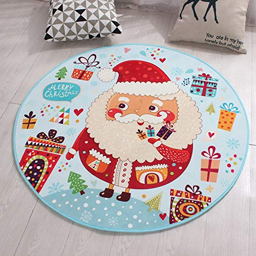 Mihaojainbing Santa Claus, Round Carpet Mat, Computer Chair Cushion Basket Pad Printed Cartoon Waterproof Children's Blanket, Three Sizes, Polyester Stepping Comfort (Size : 120120cm) ()