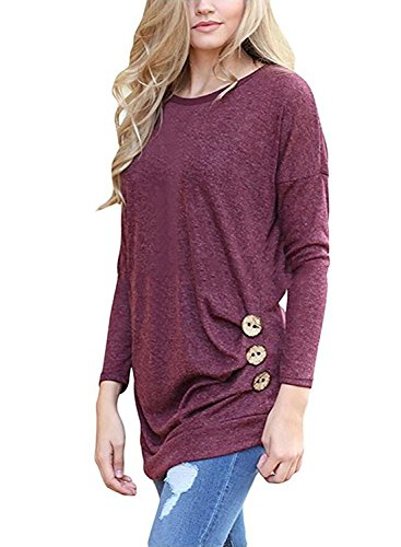 d6c8dfb215c JomeDesign Women s Long Sleeve Round Neck Casual T-Shirt Tunic Top Blouse