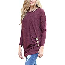 JomeDesign Womens Long Sleeve Round Neck Casual T-Shirt Tunic Tops Blouse