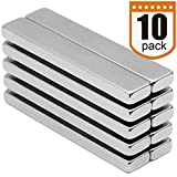 Powerful Neodymium Bar Magnets, Rare-Earth Metal Neodymium Magnet, N45, Incredibly Strong 33+ LB Strength - 60 x 10 x 5 mm, Pack of 10