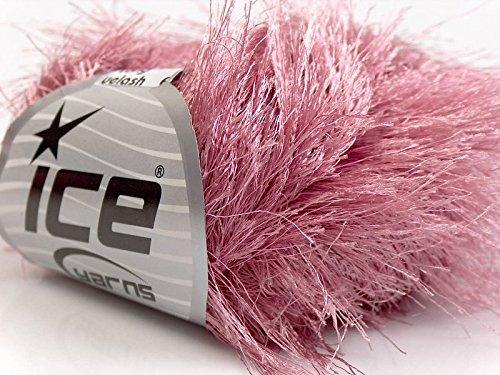 Light Rose Pink Extra Long Eyelash Yarn Ice Luxurious Fun Fur 50gr 38yds - Ice Fur