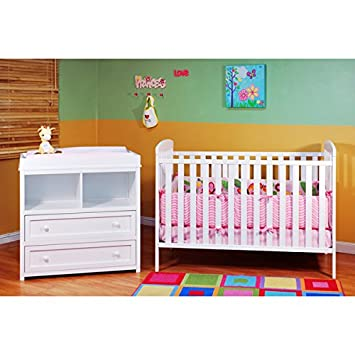 Crib And Changing Table Dresser Combo Furniture Set In White Perfect For  Any Nursery