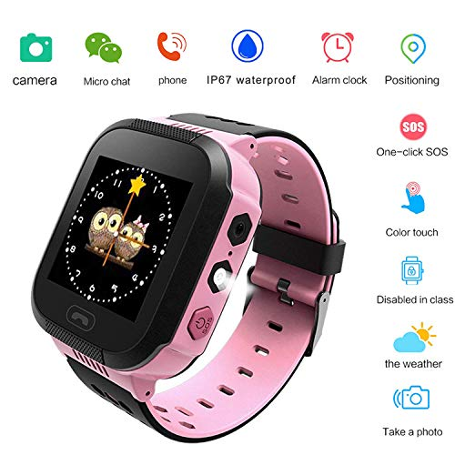 SzZjYw Children's Watch GPRS+LBS Positioning Phone Watch Camera Watch SOS Alarm Clock Math Game Environmental Protection Material 3-12 Children's Smart Watch (Pink)