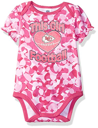 NFL Kansas City Chiefs Baby-Girls Heart Camo Bodysuit, Pink, 3-6 Months ()
