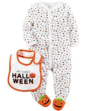 Carters Unisex Baby Halloween 2-Piece Bodysuit & Bib Set White