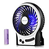 OPOLAR Battery Operated Desk Fan with Large Capacity of 3350mAh, Max. 15 Hrs Per Charge, Strong Wind, 3 Speeds, Portable, Rechargeable, Quiet, USB Powered, Perfect for Outdoor or Office Home-4 inch