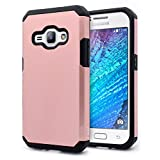 J1 2016 Case, Galaxy Amp 2 Case, Galaxy Express 3 Case, NageBee - Design Heavy Duty Defender Dual Layer Protector Hybrid Case for Samsung Galaxy J1 2016 / Amp 2 / Express 3 (Hybrid Rose Gold)