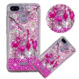 Glitter Painting Quicksand Case for Xiaomi Redmi 6,Soft Clear TPU Case for Xiaomi Redmi 6A,Moiky Creative Pink Flamingo Pattern Painted Liquid Sparkly Quicksand Crystal Transparent Protective Case