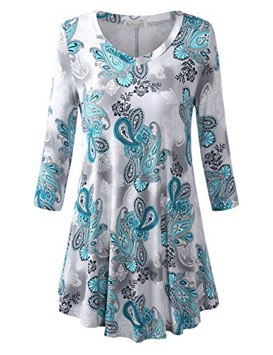 BaiShengGT Women's 3/4 Sleeves Printed V-Neck Flare Tunic Top X-Large Green Paisley (Sleeve V-neck Tunic Top)