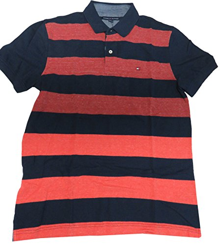 Short Sleeve Rugby Shirt Red/Navy Striped (Large) ()