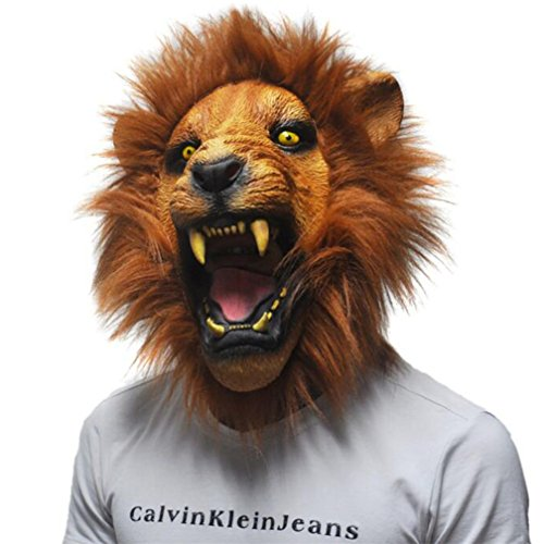 Latex Mask Realistic Halloween Horror Scary Mask Full Face Angry Lion Head Animal Masquerade Party Silicon Mask ()