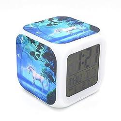 Boyan New Unicorn Dream Animal Led Alarm Clock Desk Clock Calendar Snooze Glowing Led Digital Alarm Clock for Unisex Adults Kids Toy Gift